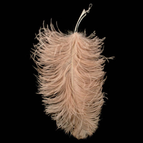ostrich feather tickler w hook pink