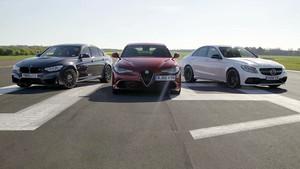 Τι γίνεται όταν κοντράρουν μια Giulia, μια M3 και μία Mercedes AMG;