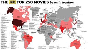 Παγκόσμιος Χάρτης σου δείχνει που γυρίστηκαν οι 250 καλύτερες ταινίες του IMDb